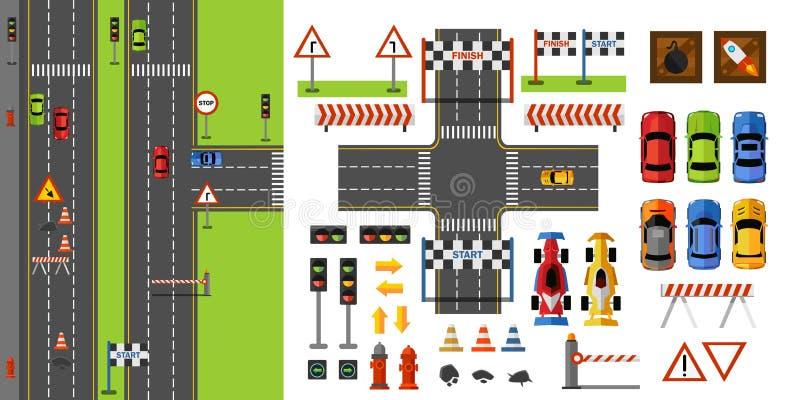 城市道路和交通顶视图与路标,运输和赛跑比赛元素 在平的样式的路建设者 ?? 皇族释放例证