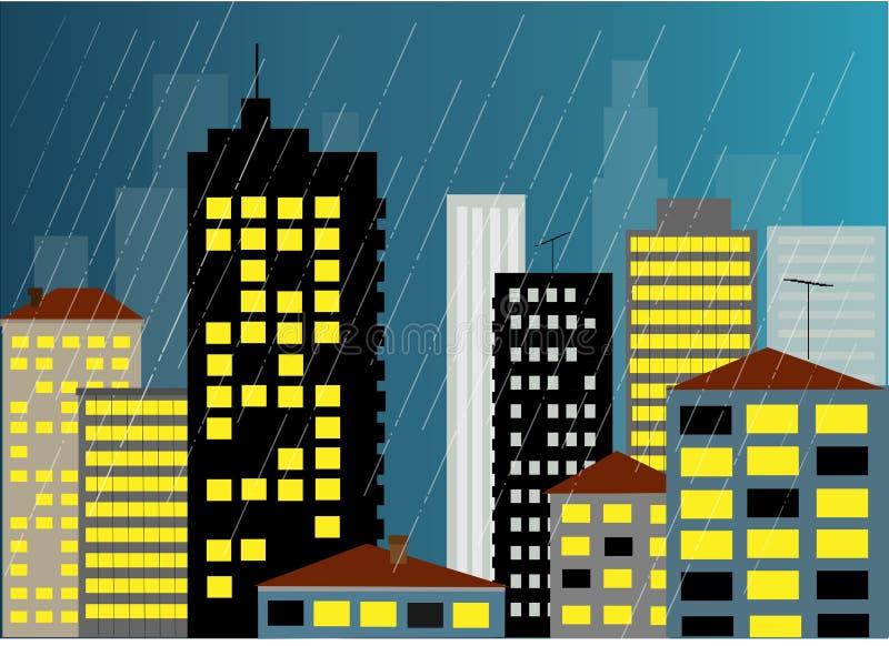 城市雨 皇族释放例证