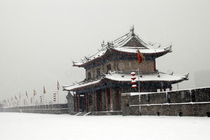 城市雪墙壁XI县 库存图片