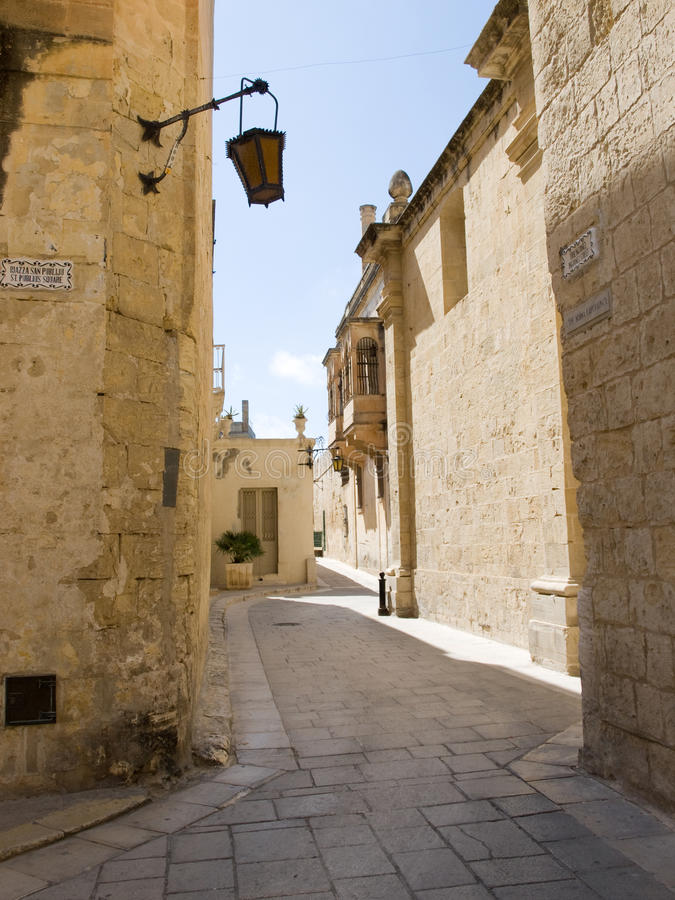 城市静音马耳他的mdina 库存图片