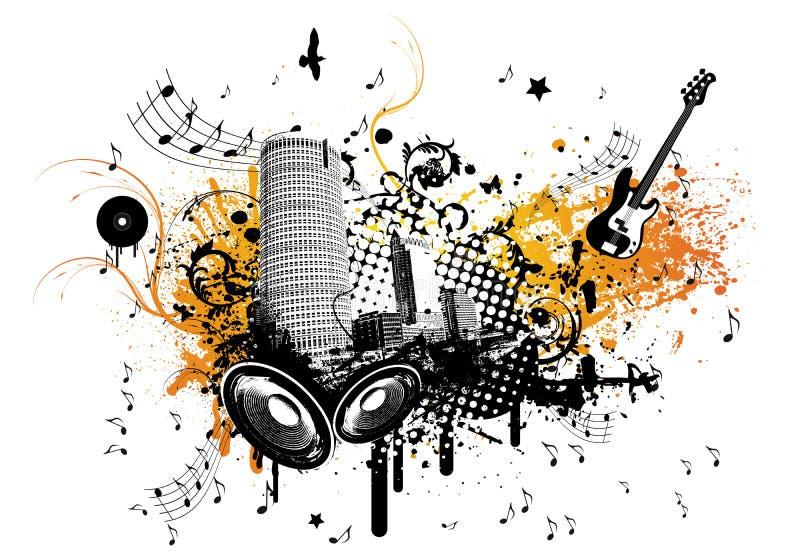 城市音乐夏天 向量例证