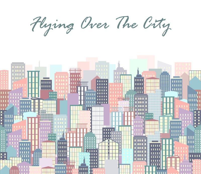 城市风景传染媒介例证 都市的地平线 与大厦的背景在平的样式 库存例证