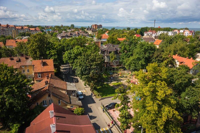 城市风景在Zelenogradsk,加里宁格勒地区,俄罗斯 免版税库存照片
