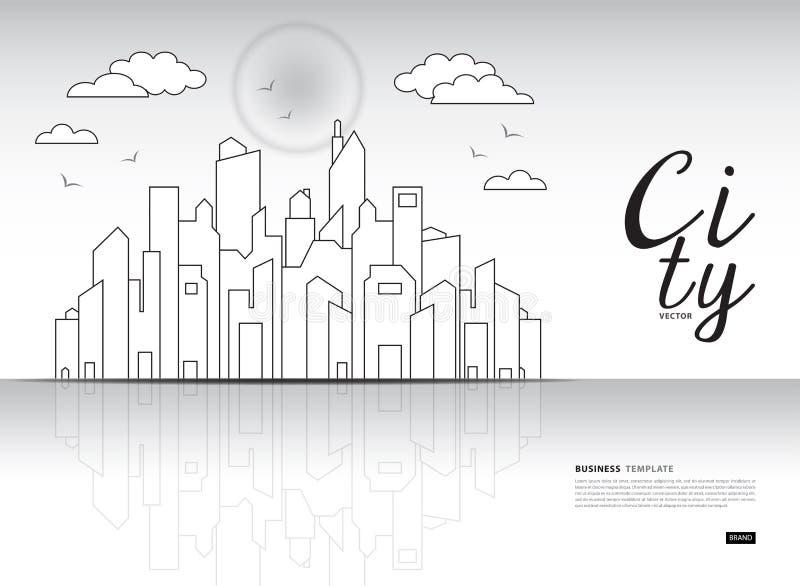 城市风景模板传染媒介例证,与高摩天大楼的街市风景,网横幅,大厦广告 向量例证