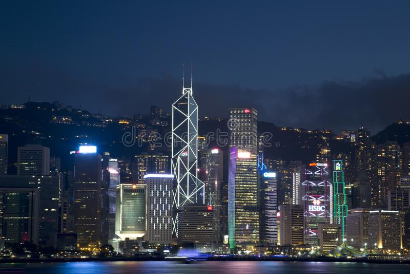 城市香港中国地平线夜场面 免版税库存图片