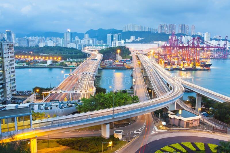 城市香港晚上场面业务量 库存照片
