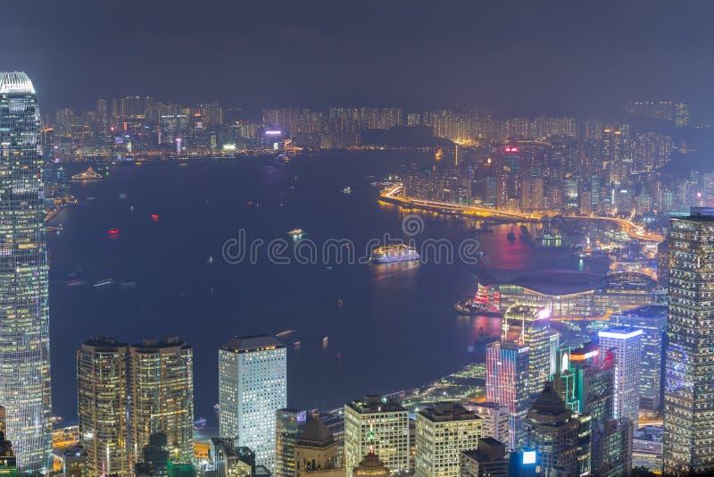 城市香港晚上 免版税图库摄影