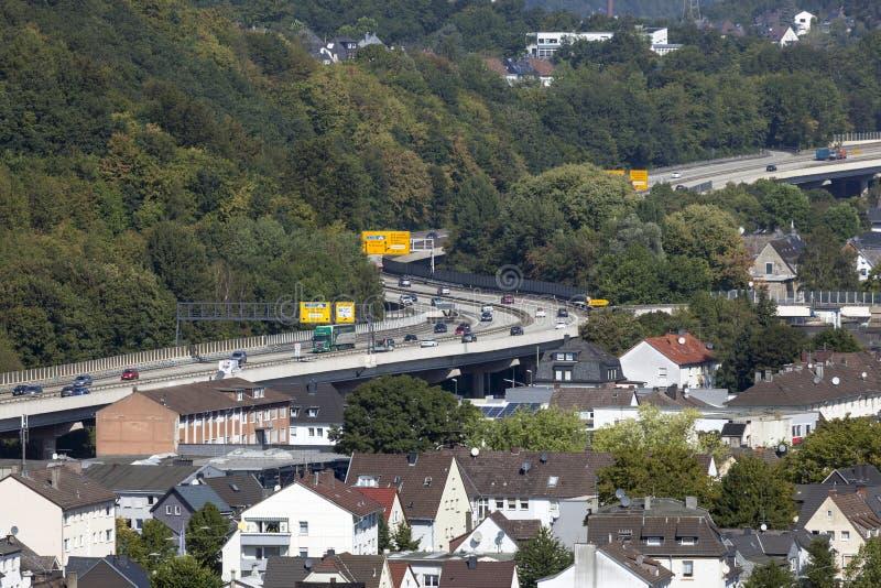 城市高速公路在锡根,德国 免版税库存照片
