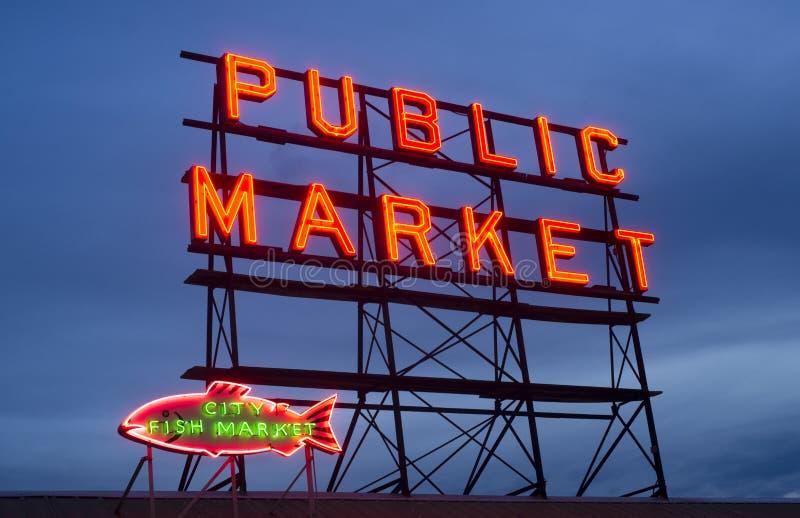 城市鱼公开市场霓虹灯广告西雅图华盛顿 库存图片