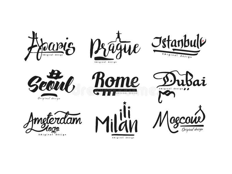 城市,巴黎,布拉格,伊斯坦布尔,汉城,罗马,迪拜,阿姆斯特丹,米兰,莫斯科,城市手拉的书信设计的名字 皇族释放例证
