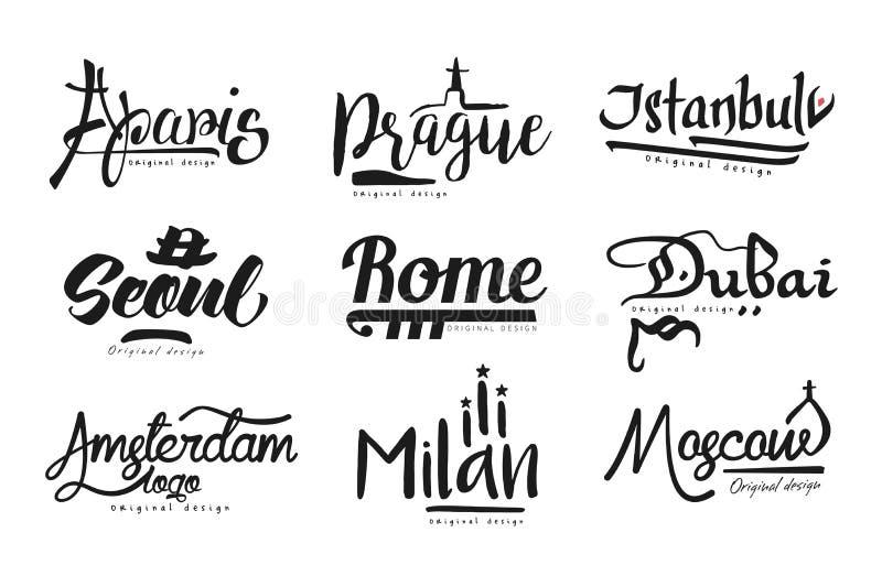 城市,巴黎,布拉格,伊斯坦布尔,汉城,罗马,迪拜,阿姆斯特丹,米兰,莫斯科,城市手拉的书信设计的名字 库存例证