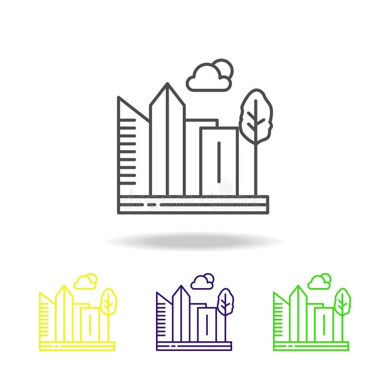 城市,摩天大楼,大厦,树色的象 能为网,商标,流动应用程序,UI,UX使用 向量例证