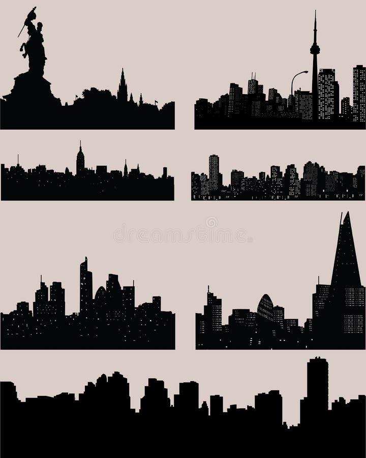 城市黑剪影 向量例证