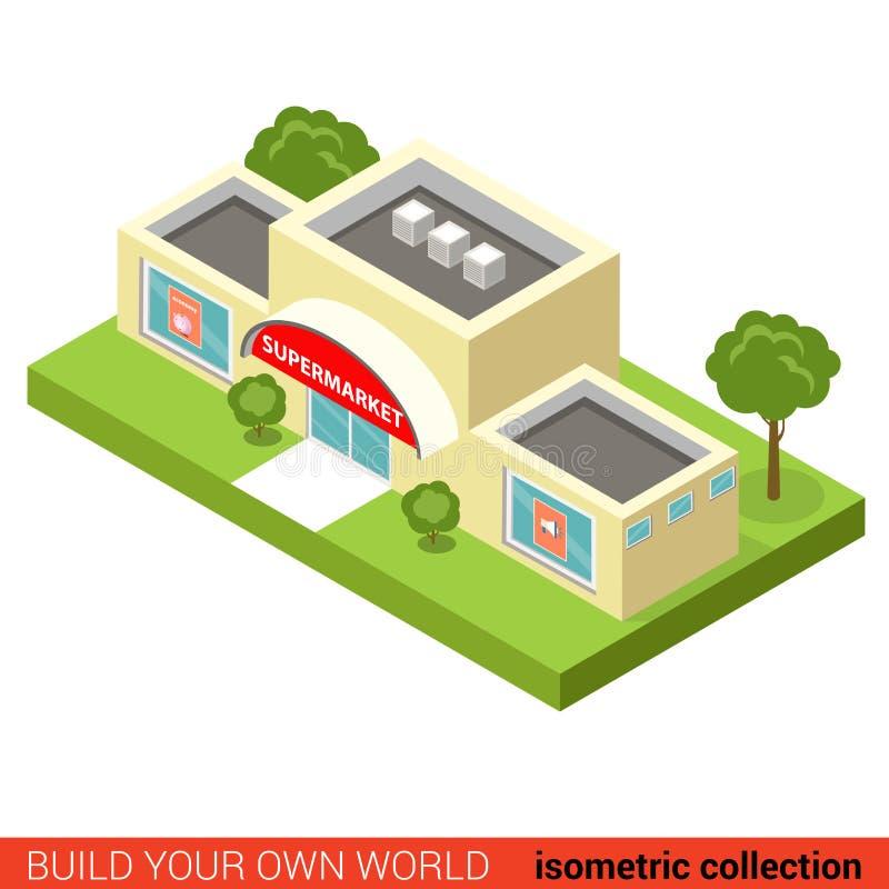 城市购物中心超级市场块平的3d等量传染媒介大厦 库存例证
