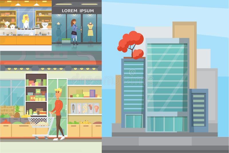 城市购物中心,与走的顾客的精品店画廊室内内部地板 商店中心修造的外部 库存例证