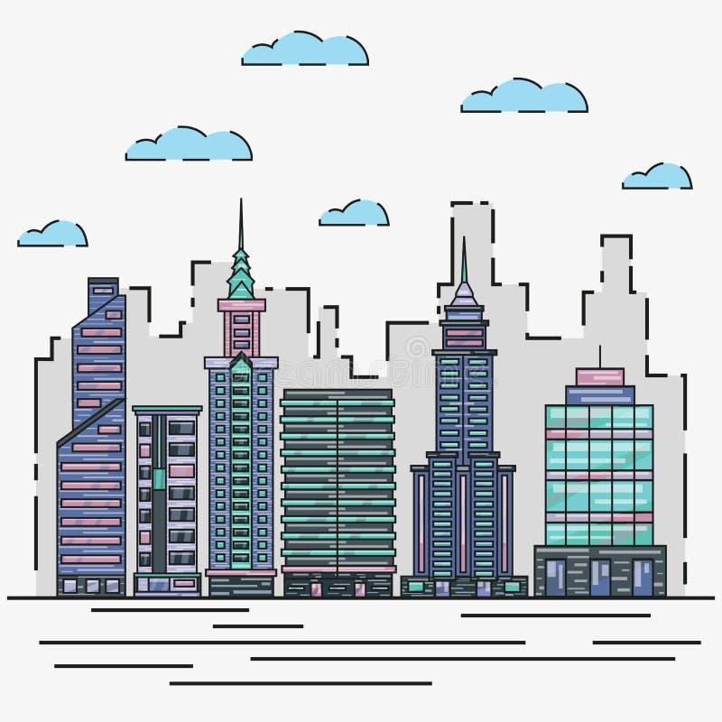 城市建筑学地平线在稀薄的线平的设计的传染媒介例证 都市风景和都市风景图表概念 向量例证