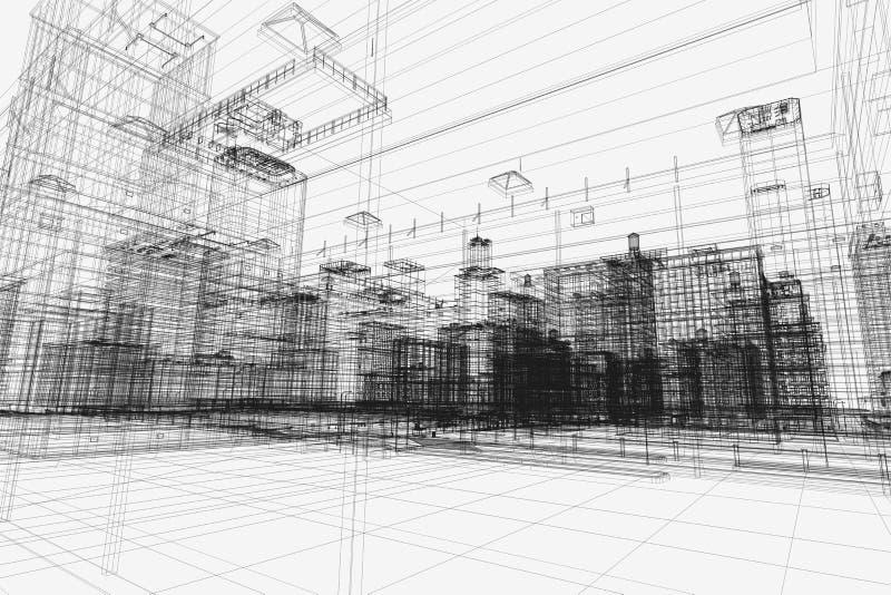 城市建筑项目, 3d wireframe印刷品,都市计划 结构 免版税库存照片
