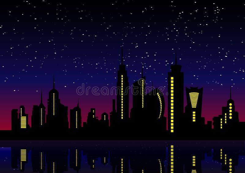 城市eps JPG晚上地平线 都市风景背景,美好的夜 库存例证