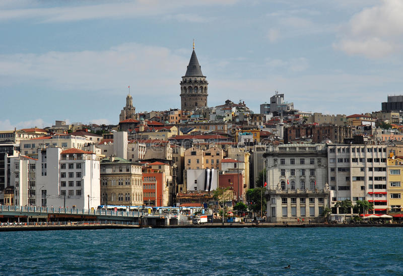 城市galata伊斯坦布尔t塔 免版税库存照片