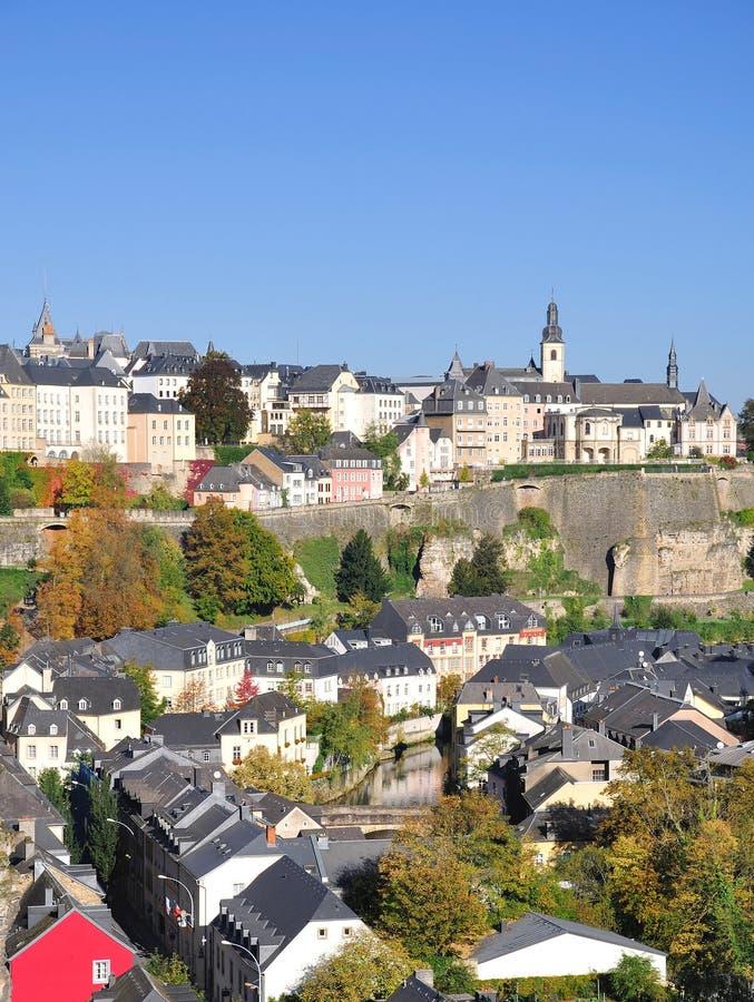 城市grund卢森堡 免版税库存图片