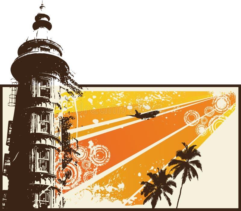 城市grunge橙色减速火箭 皇族释放例证