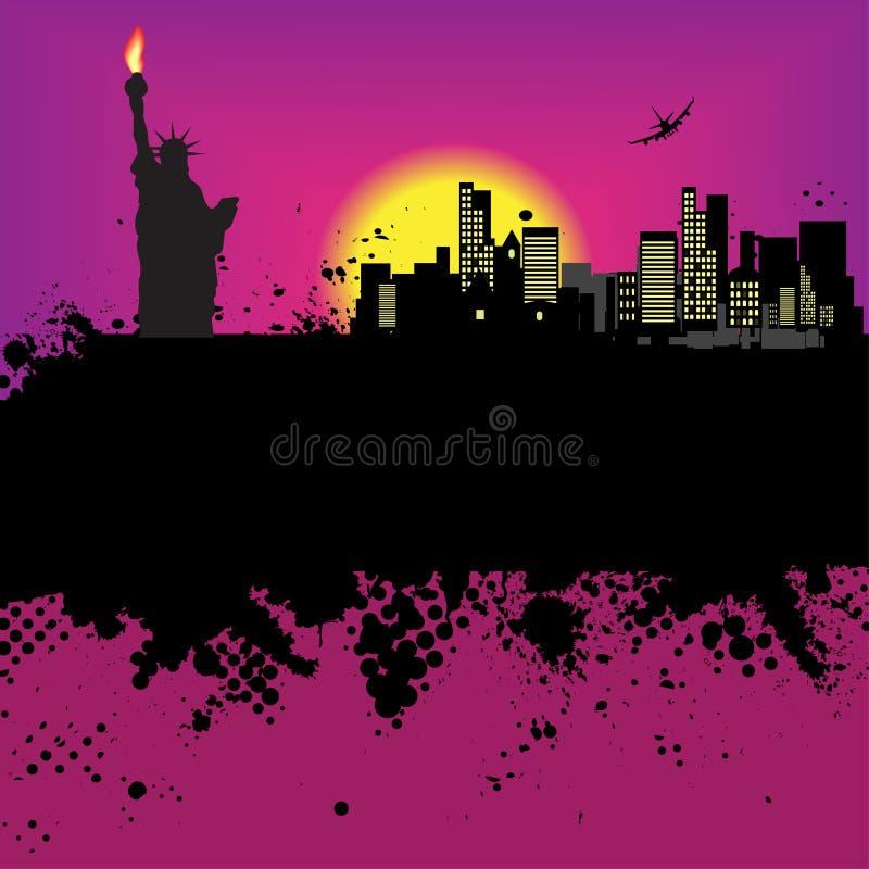 城市grunge illustrat纽约 库存例证