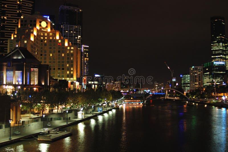 城市iii墨尔本晚上 库存图片