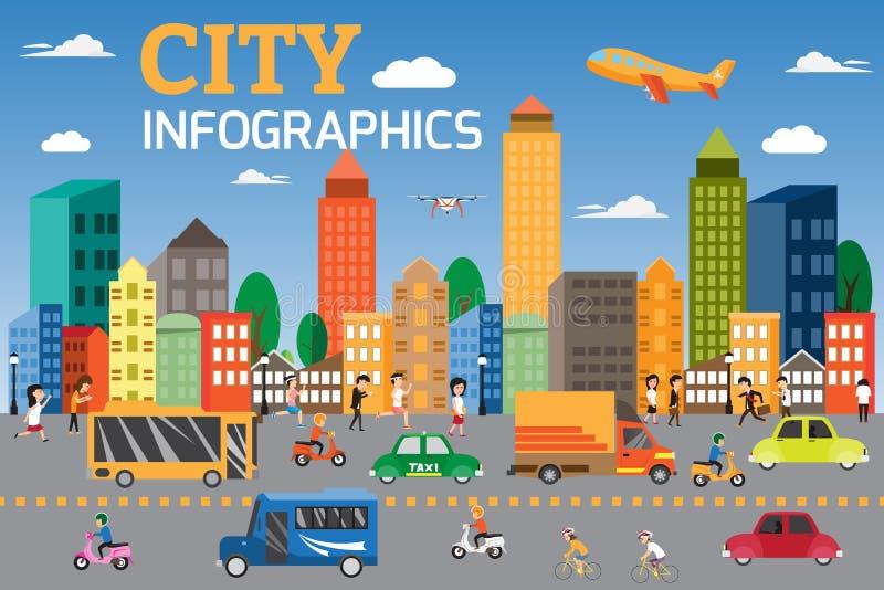 城市infographics元素 运输图表细节  库存例证