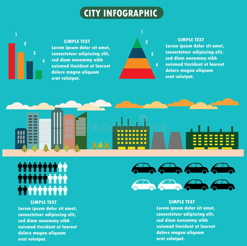城市infographics -与象、图和de的平的设计版面 库存例证