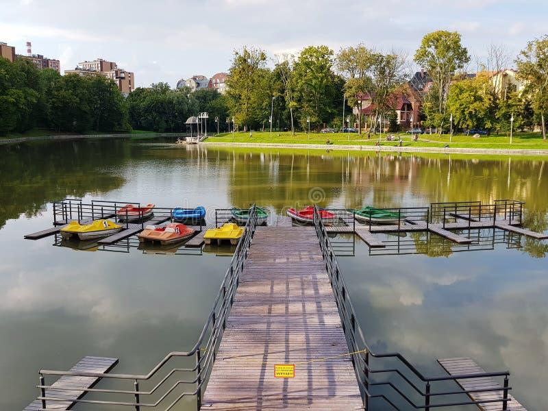城市Park湖夏天视图 库存图片