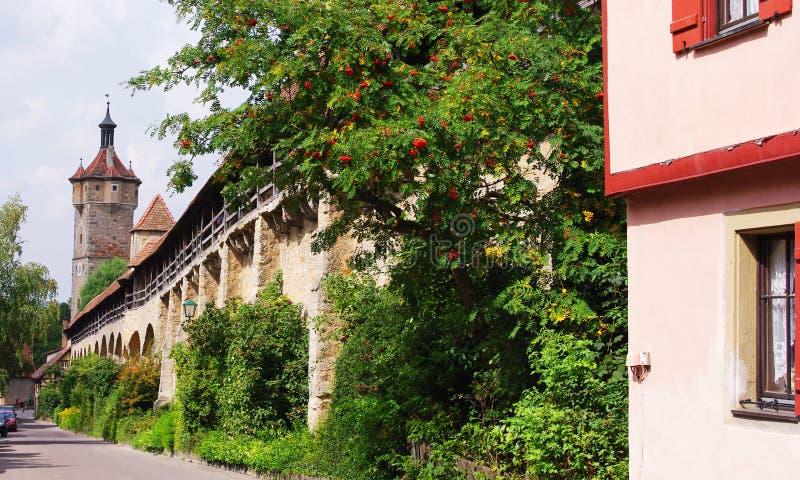 城市rothenburg墙壁 库存图片