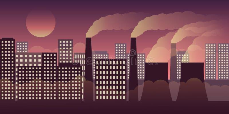 城市scape在与污染的夜之前由产业和烟雾 皇族释放例证