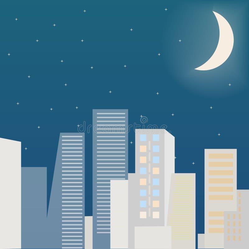 城市scape在晚上 平的传染媒介例证 向量例证