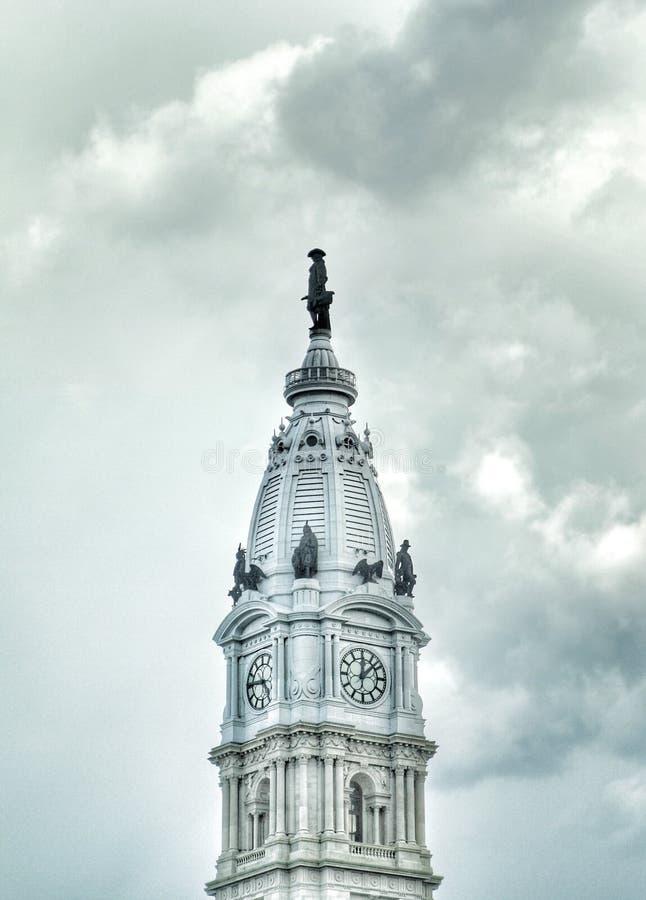 费城有威廉・佩恩雕象的市政厅  免版税库存照片