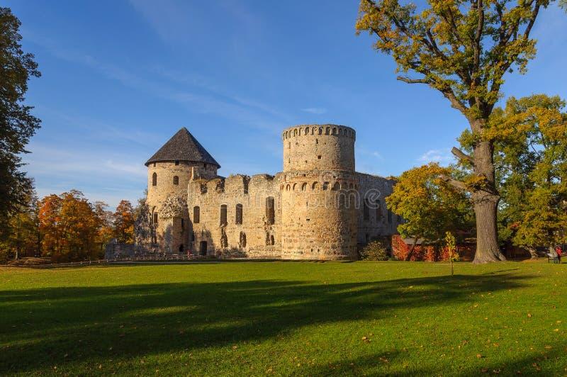 城楼和城堡废墟围墙在Cesis镇,拉脱维亚 库存图片