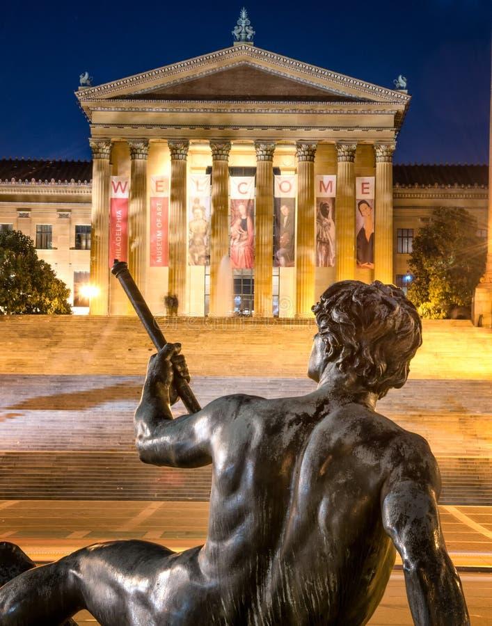 费城美术馆和雕象 库存图片