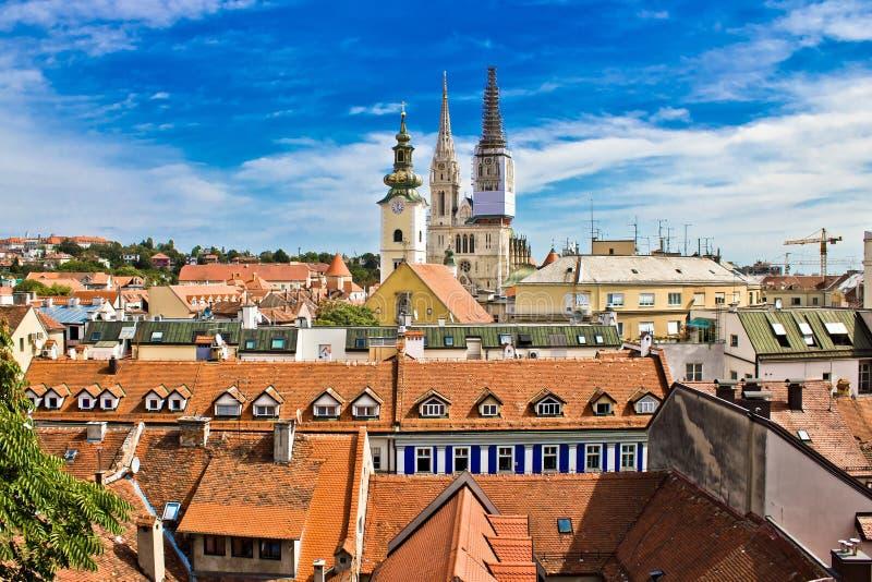 城镇上面的视图萨格勒布 库存照片