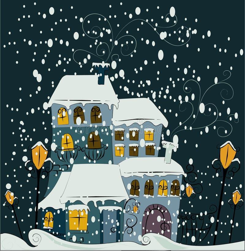 城镇冬天 向量例证