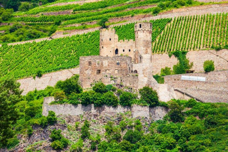城镇厄棱费尔城堡在Rudesheim 库存图片
