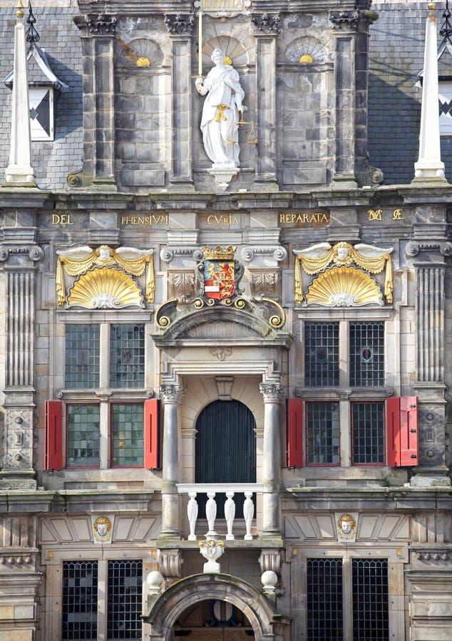 城镇厅在城市德尔福特,荷兰 免版税库存照片