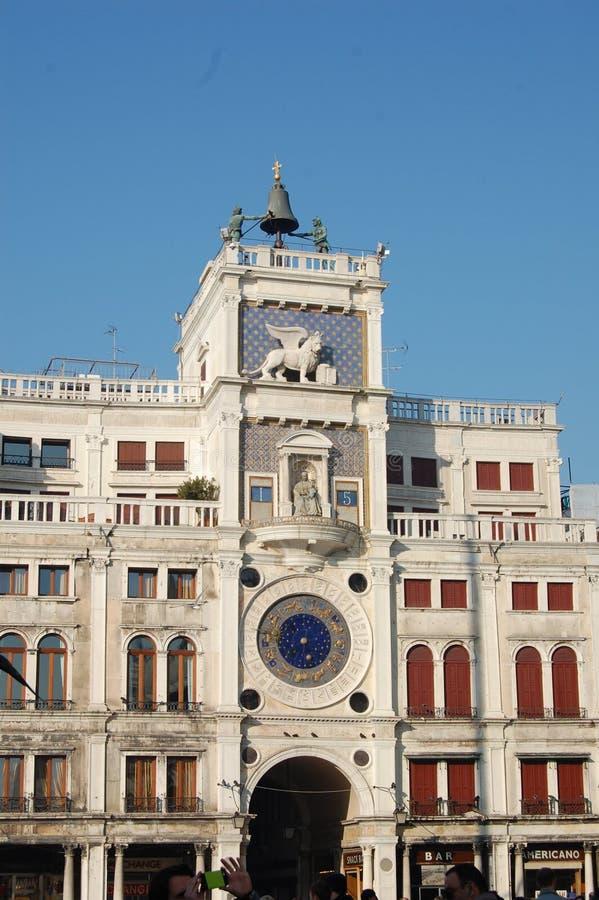 城镇厅大厦在威尼斯,意大利 飞过的狮子是城市的标志 免版税库存照片