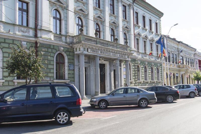 城镇厅宫殿在Sighetu Marmatiei 免版税库存照片