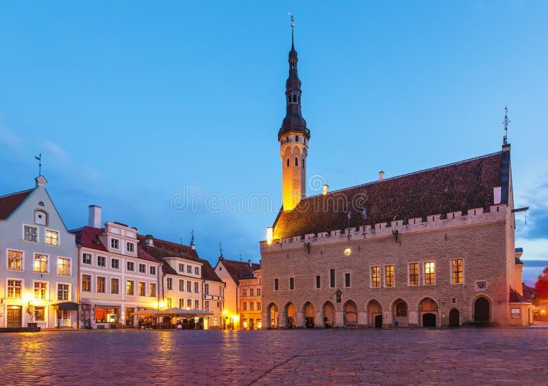 城镇厅广场在塔林,爱沙尼亚 免版税库存图片