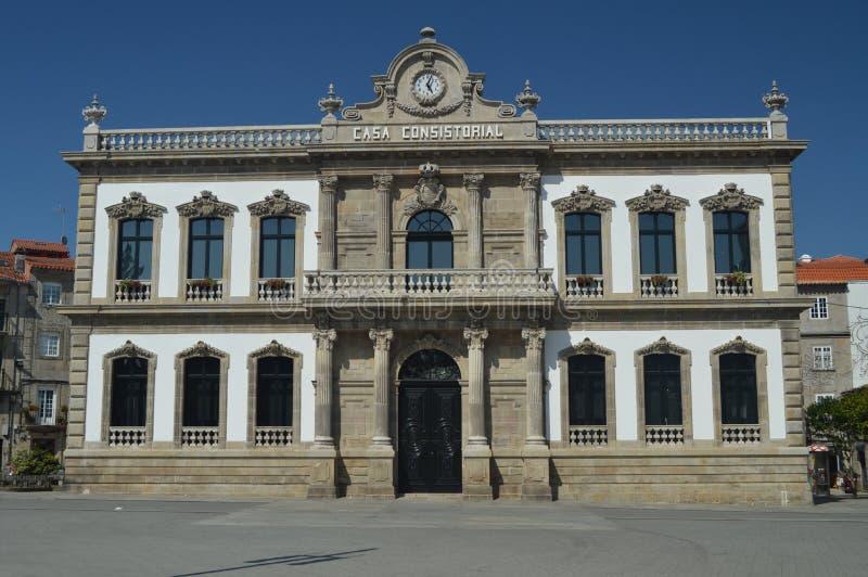 城镇厅的主要门面在西班牙广场在蓬特韦德拉 自然,建筑学,历史,街道摄影 2014年8月19日 免版税图库摄影
