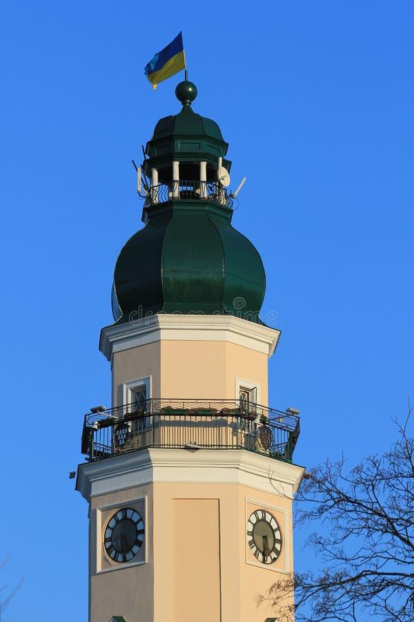 城镇厅的塔在德罗霍贝奇,乌克兰 图库摄影
