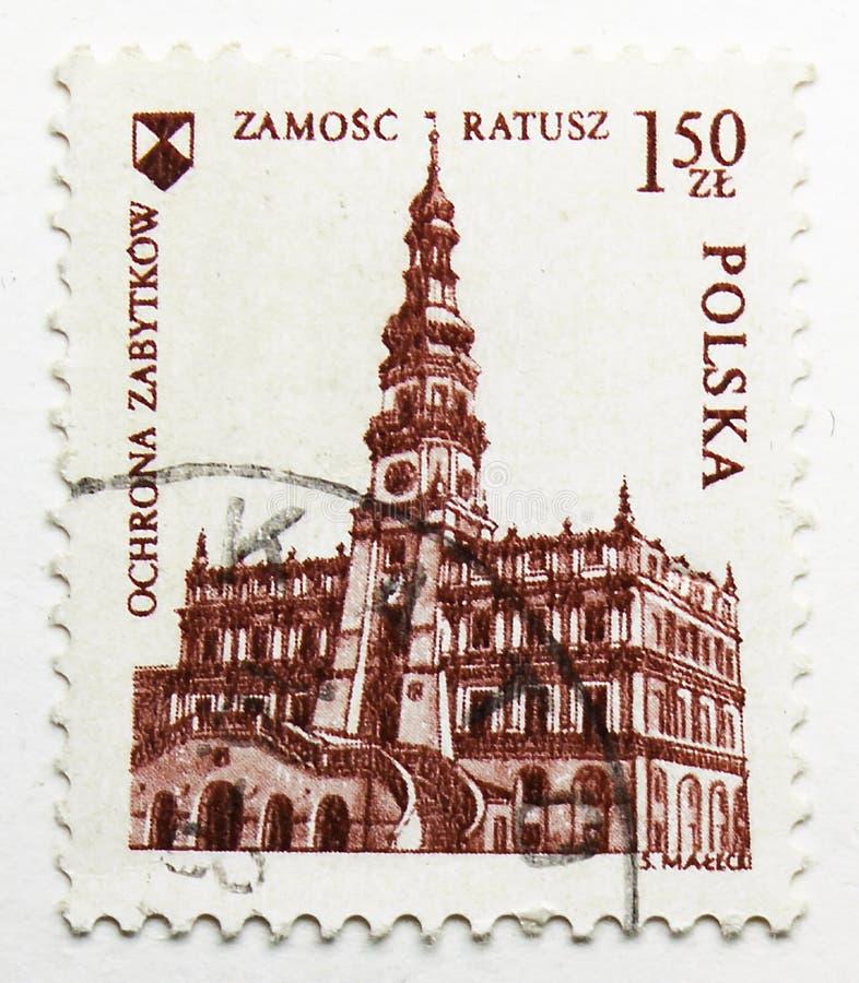 城镇厅,扎莫希奇,欧洲建筑遗产年serie,大约1975年 免版税库存图片