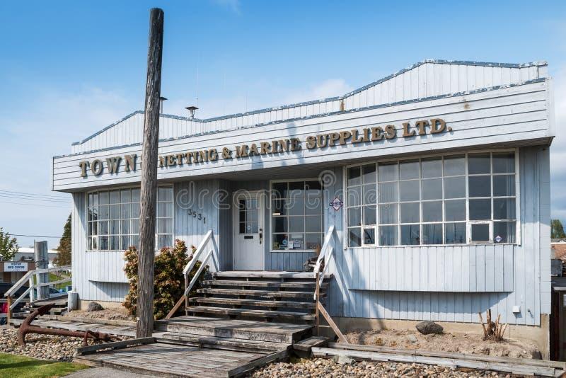 城镇在Steveston的Netting&Marine用品,加拿大 免版税库存照片
