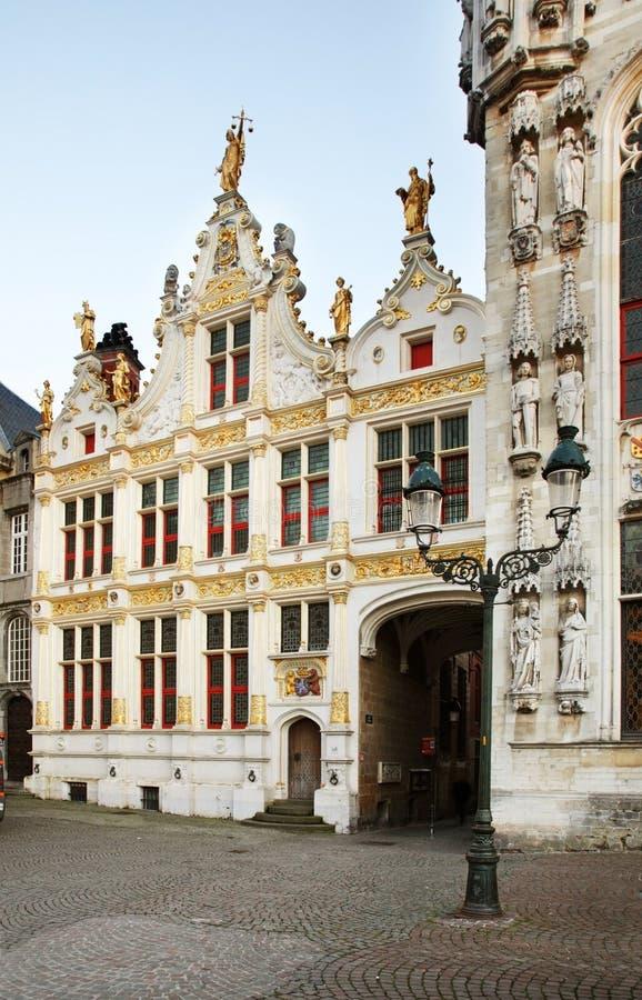 城镇正方形在布鲁日 富兰德 比利时 库存照片