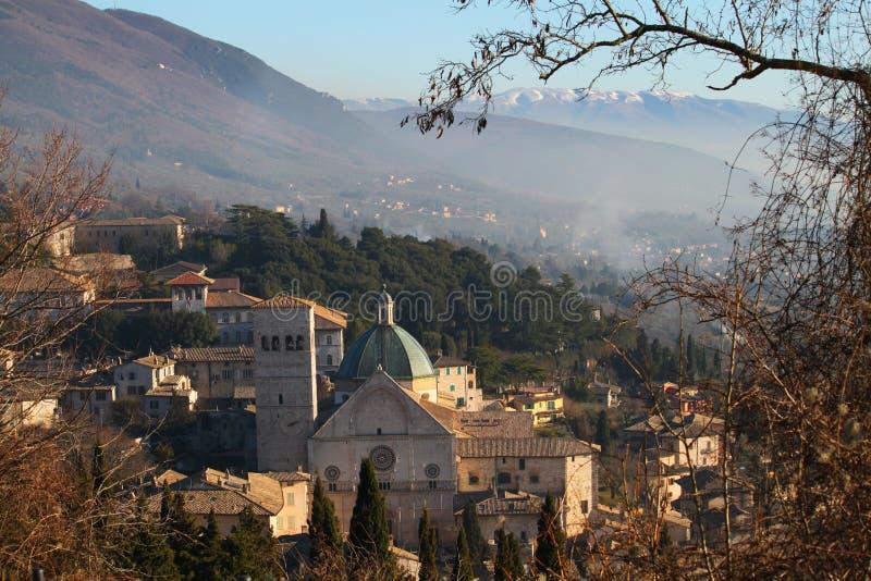 城镇Assisi在翁布里亚 库存图片