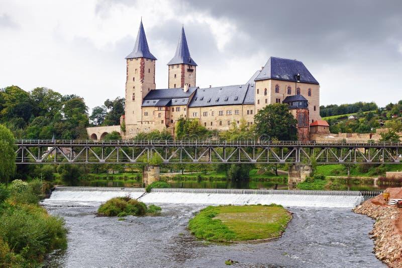城镇Rochlitz,德国 库存照片